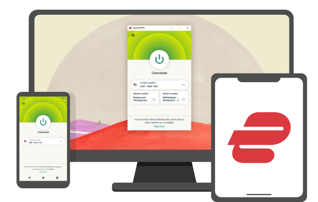 ExpressVPN screens: the app running on multiple devices