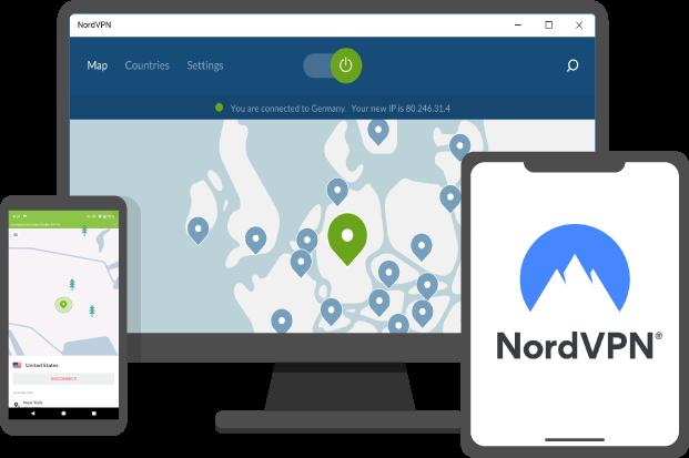 nordvpn review cover: pantalla de otro dispositivo con la aplicación en funcionamiento