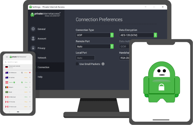 pia vpn private internet access review: devices screens