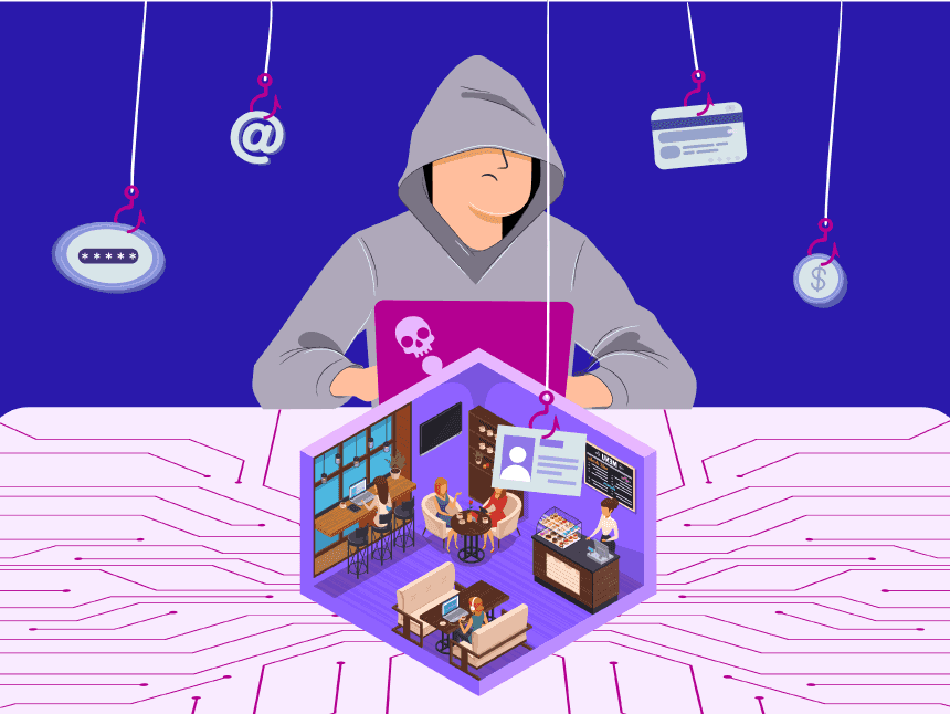Security on Public Wi-Fi: Risks and How to Use Public Wi-Fi Safely. Image of a hacker in control over a coffeehouse network data (phishing)