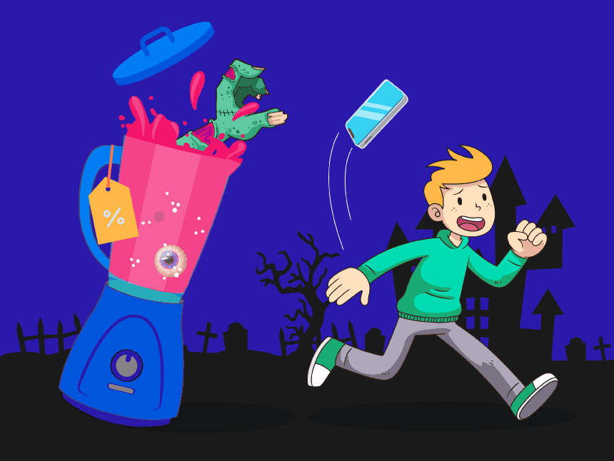 what is tracking pixel (web beacon): image of a internet user running from a stalking zombie juicer